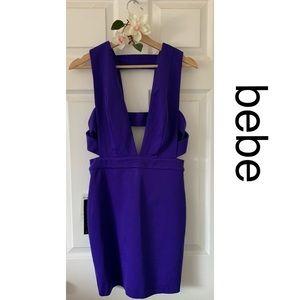 Bebe Mini Dress Plunging Neckline Cut out